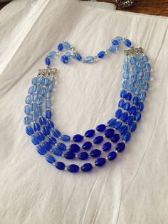 Four Strand Blue Glass Bead Necklace JAPAN by broochonmyback59, $35.00