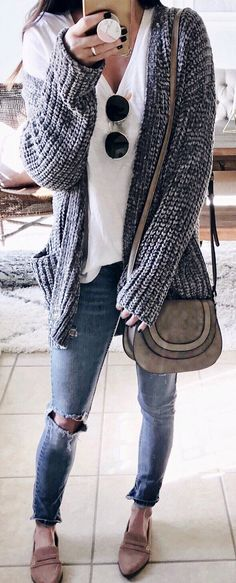 #winter #outfits white shirt, black knit open cardigan, and blue denim jeans outfit. Pic by @thesisterstudioig.