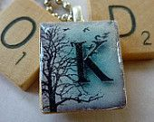 Scrabble Tile Pendant-Winter Letter K-Initials