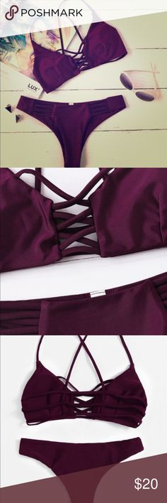 """Beautiful new swimsuit size M This is a absolutely beautiful swimsuit!!  I ordered for internet and bought 2 for accident so I need to sell one. It says """"L"""" but it fix more in a """"M"""" . The color and shape are beautiful. Swim Bikinis"""