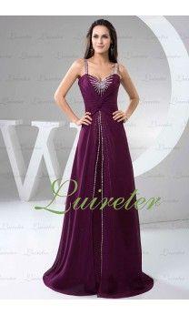 Glamorous A-Line Floor Length Spaghetti Straps Grape Chiffon Beading Evening Dress