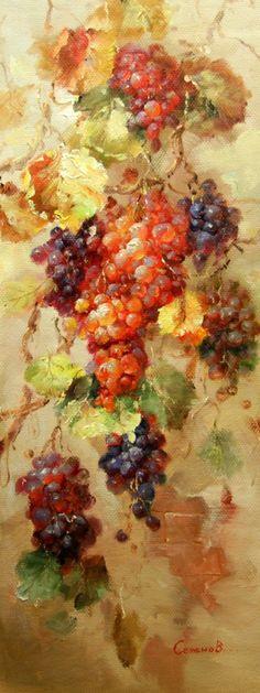 """Винтерьер - Картина маслом """"Виноградные грозди"""""""