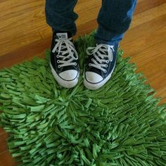 Recycled TShirt Rug in Avocado Green SMALL by talkingsquid on Etsy, $60.00