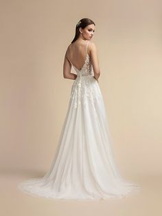 Full A-line Mikado and Net with Square Neckline and Bateau Back Moonlight Wedding Dress Style Indie Wedding Dress, Wedding Dress Low Back, Beaded Wedding Gowns, Wedding Dresses With Straps, Different Wedding Dress Styles, Lace Wedding, Dream Wedding, Wedding Dress Necklines, Tulle Lace