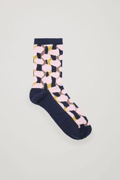 Made from a softly textured cotton blend, these socks have an all-over jacquard pattern and ribbed cuffs for comfort. Delicate Lingerie, Lingerie Set, Small Wardrobe, Pink Socks, Cotton Socks, White Shirts, My Bags, New Product, Printed Cotton