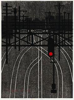 Kiyoshi Saito, Signal (A), woodblock print