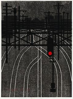 Kiyoshi Saito, Signal (A) <br> woodcut in colours, 1962, on Japon, signed, titled and dated, numbered 15/150, pale time-staining, a few tape stains at the reverse of the sheet edges, otherwise in good condition, not framed <br> B.60.3x44.5cm  S.63.5x48.3cm