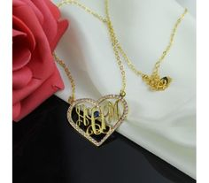 Love Heart Style Monogram Necklace With Birthstone & Swarovski In Gold Plated