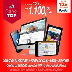 Pacote TOP  Site com 10 Páginas + Blog + Redes Sociais + Adwords  Confira os BRINDES exclusivos deste plano em nosso site: www.cgapublicidade.com