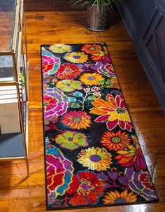 Unique loom lyon collection modern floral black runner rug 0 x Black Runners, Shed Colours, Turkey Colors, Floral Area Rugs, Buy Rugs, Round Rugs, Indoor Rugs, Modern Rugs, Runes
