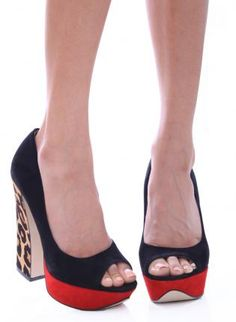 Colorblock Suede Red and Black Leopard Print Chunky Heels,  Shoes, leopard print  chunky heel  suede, Chic