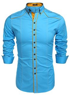 Coofandy Men's Button Down Dress Shirts Casual Slim Fit Measurements:/b br for choosing proper size, use similar clothing to compare with the size. br larger sizes if your size are same as the flat measurement Size Chart. Slim Fit Casual Shirts, Slim Fit Dress Shirts, Slim Fit Dresses, Fitted Dress Shirts, Casual Button Down Shirts, Shirt Dress, African Shirts, Cool Shirts, Men Shirts
