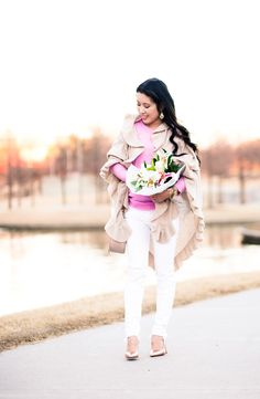 cute & little blog | petite fashion | cashmere ruffle wrap, pink tippi sweater, distressed white jeans, gold pumps | fall winter outfit