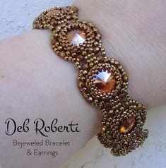 Bejeweled Bracelet & Earrings beaded pattern tutorial by Deb Roberti, rivoli pattern