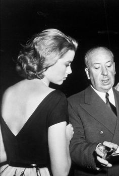 Alfred Hitchcock and Grace Kelly on the set of Rear Window