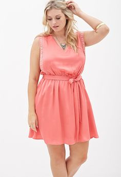 Curvy Girl  Embroidered Fit & Flare Dress - I love the coral color