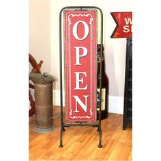 Standing Store Shop Open Closed Sign on Pedestal Antique Design Sandwich Board