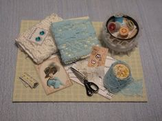 Gaël Miniature shabby chic  Bolts of cloth plus SEWING ACCESSORIES -  Auxiliary haberdashery with complementary sewing french style
