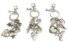 Love Faith or Angel Keychains  Charm by BeeBaublesJewelry on Etsy