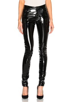 vinyl and leather pants because they are shown in many fashion magazines many times.
