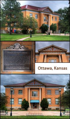 This library is well preserved, currently used as a cultural center. Unlike many examples, it is located in a lovely park with no crowding of other buildings. FACTS:  Ottawa, Kansas (Franklin County)    Built: 1903;  Grant: $15,000;  GPS: Latitude:  38,36.6612N; Longitude: 95,16.0963W Latitude 38, Ottawa Kansas, Carnegie Library, Franklin County, Cultural Center, Historical Pictures, Libraries, Buildings, Facts