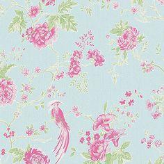 Julien Macdonald Blue & Pink Exotica Floral Wallpaper | Debenhams
