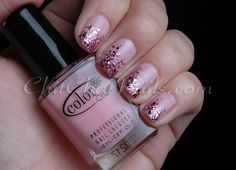 """Color Club """"Pardon My French"""" with Color Club """"Candy Cane"""" & Essie """"A Cut Above"""" for the glitters 