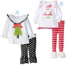 Children's Christmas costume Clothing Sets baby girls Santa Long-Sleeve t-shirts+striped/dot pants kids halloween clothes set(China (Mainland))