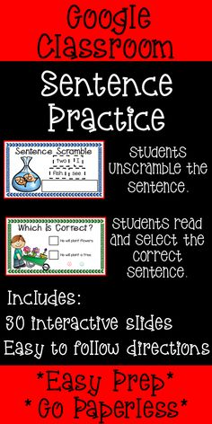 Are you looking for a fun phonics center or small group activity? This Google Classroom Sentence Practice activity is perfect for any preschool, kindergarten or first grade classroom. This activity does not require any paper - Go paperless! #googleclassroom #sentencepractice