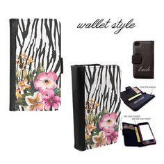 iPhone and Galaxy leather wallet case - Shabby retro zebra pattern flower floral
