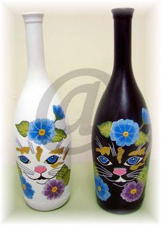 botellas de cristal pintada a mano