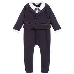 Aletta - Boys Blue Evening Suit Romper | Childrensalon