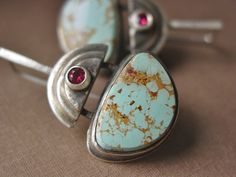 ReaganHayhurst - Turquoise and Pink Spinel Gemstone Sterling Silver Dangle Earrings.