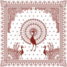 Peacock, Henna Tattoo, Indian Culture, Pattern, Design, Lotus, Vector, Illustration and Painting, Frame, Floral Pattern  {via HiDesignGraphics istockphoto.com}