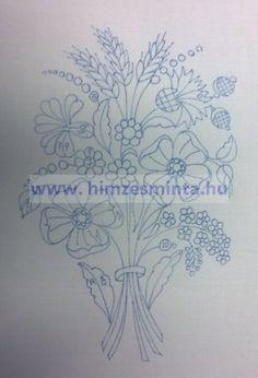 Virágcsokor 2 - Kalocsai, matyó, angolmadeirás, richelieu (riseliő) keresztszemes előnyomott hímzés minták. Terítők, abroszok, falvédők előnyomása