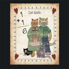 Cat Print Wall Art Cat Math 8 by 10 print Country by cherylweaver
