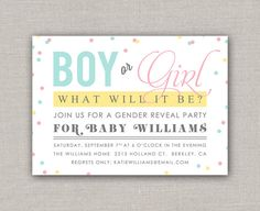 Confetti Gender Reveal Invitation by announcingyou on Etsy Confetti Gender Reveal, Gender Reveal Invitations, Baby Shower Gender Reveal, Baby Gender, Shower Invitations, Birthday Invitations, Gender Party, 2nd Baby, March Baby