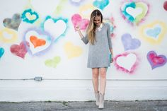 @forever21 marled fleece swing dress and ShoeDazzle booties. #HelloGorgeous