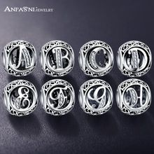 ANFASNI Real 925 Sterling Silver Vintage Clear Letter Bead Charms Fit Pandora Women Charm Bracelets Silver Jewelry from Charms and Bracelets Silver Bracelets, Bangle Bracelets, Silver Jewelry, Silver Ring, Diamond Jewelry, Letter Beads, Letter Charms, Pandora Original, Pandora Bracelet Charms