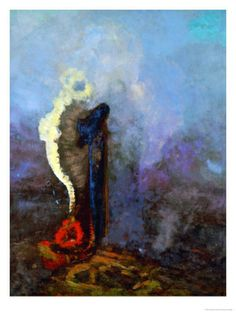 """'The Dream' - Odilon Redon - """"While I recognize the necessity for a basis of observed reality…true art lies in a reality that is felt. Gustav Klimt, Odilon Redon, Arte Horror, Post Impressionism, True Art, Art Abstrait, Oeuvre D'art, Painting Inspiration, Kitsch"""