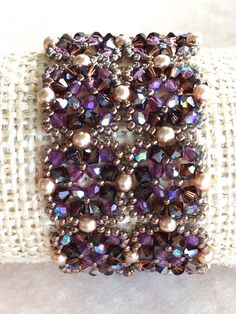 Betsy Beadwoven Purple Swarovski Crystal and Pearl, Violet Cuff Bracelet, Handmade Beadwork