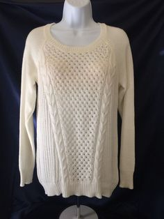 Sweater Pullover long sleeve off-white cable Junior Sz L #Heritage #Tunic