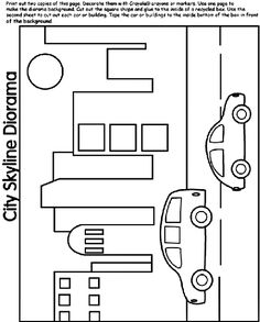City Skyline DIORAMA coloring page @ http://www.crayola.com/free-coloring-pages/print/city-skyline-diorama-coloring-page/