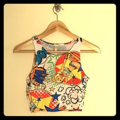 Comic Top Super cute crop top with graphics! K Too Tops Crop Tops