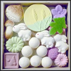 Sugary tsukimi wagashi, Japanese sweets shaped as bunnies, tsukimi dango moon-viewing rice dumplings), chestnuts, mushrooms, fall flowers and of course, the full moon veiled in pampass grass.