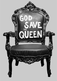 god save the queen black leather armchair. reminds me of my sex pistol days. would be a cool chair for my computer desk.