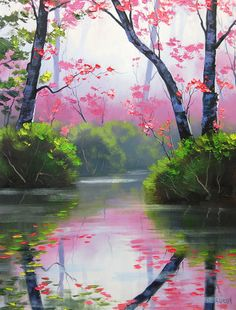 Kai Fine Art: Graham Gercken... River Painting, Oil Painting On Canvas, Watercolor Paintings, Acrylic Paintings, Painting Trees, Impressionist Paintings, Landscape Paintings, Impressionist Landscape, Landscape Art