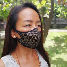 b5374af9e59 Flower of Life Air Pollution Facemask • Crystal Infused protection on  Eco-friendly modal fabric w organic bamboo • 99.99% at PM2.5