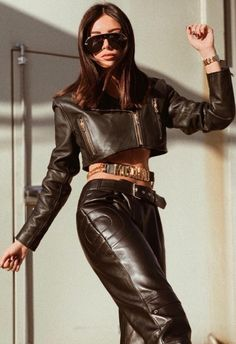 Black Crop Top Leather Jacket and matching Biker Style Leather Pants Leather Pants Outfit, Leather Trousers, Leather Boots, Black Leather, Leather Jacket, Vinyl Trousers, Leggings, Fast Fashion, Women's Fashion