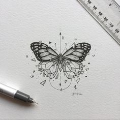 inspirational butterfly tattoo drawings, geometric tattoos, butterfly tattoo ideas for inspiration A Kunst Tattoos, Tattoo Drawings, Body Art Tattoos, New Tattoos, Tattoo Sketches, Art Drawings, Tatoos, Xoil Tattoos, Forearm Tattoos